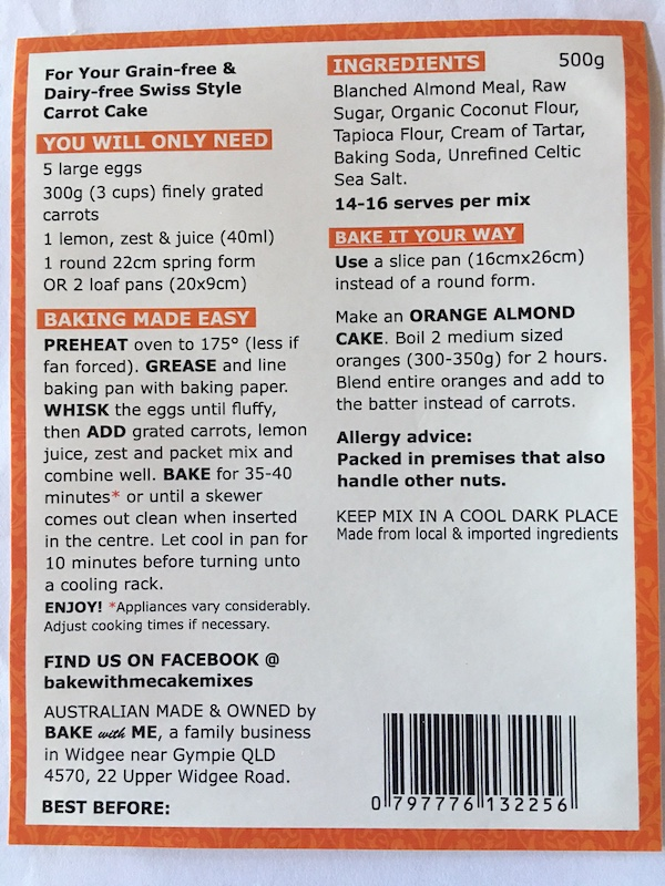 Ingredients Carrot Cake Mix - Bake With Me copy
