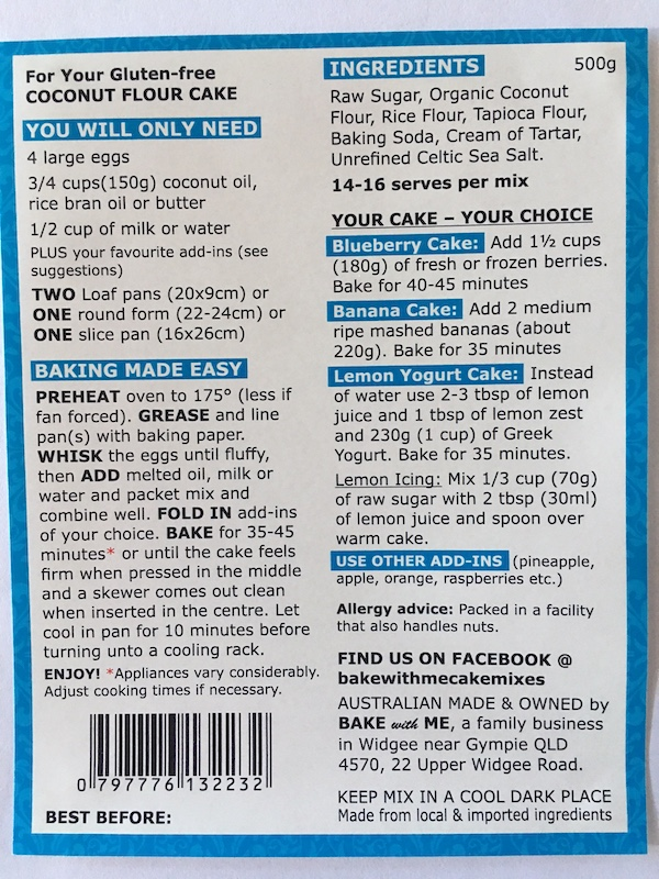 Ingredients Coconut Flour Cake Mix - Bake With Me copy